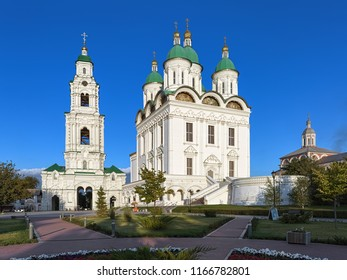 ASTRAKHAN, RUSSIA - AUGUST 13, 2018: Cathedral of the Assumption and Bell Tower in Astrakhan Kremlin in summer evening. The cathedral was built in 1699-1710. The bell tower was built in 1910.