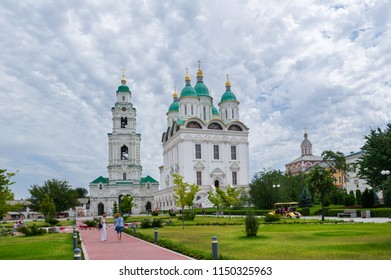 ASTRAKHAN, RUSSIA - JUNE 30, 2018: Tourists near the Assumption Cathedral on the territory of the Astrakhan Kremlin.