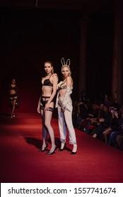 ASTRAKHAN RUSSIA - NOVEMBER 01, 2019. Caspian Fashion Week.Models in underwear defile on the catwalk. Demonstration of underwear