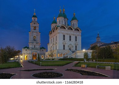 ASTRAKHAN, RUSSIA - OCTOBER 20, 2017: Assumption Cathedral and Bell Tower in Astrakhan Kremlin in dusk. Cathedral was built in 1699-1710 by architect Dorotheos Myakishev. Bell tower was built in 1910.