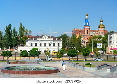Astrakhan, Russia - September 05, 2016: View on the street from Astrakhan State Opera and Ballet Theater