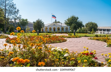 Astrakhan, Russia - September 12, 2017: A view of the building of an ethnographic museum on the territory of the Astrakhan Kremlin.
