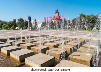 Astrakhan, Russia - September 12, 2017: A modern fountain in Lenin Square near the Astrakhan Kremlin.