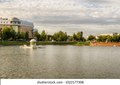 Astrakhan, Russia - a swan lake in the center of the city.