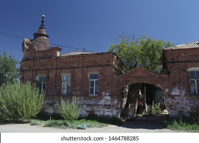 ASTRAKHAN, RUSSIAN FEDERATION - AUGUST 10, 2017: House on Darwin Street, 33 in Astrakhan city, Russia. Old beautiful architecture