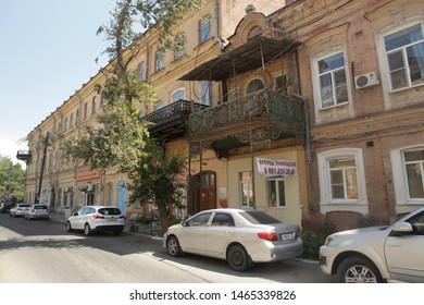 ASTRAKHAN, RUSSIAN FEDERATION - AUGUST 10, 2017: House with balcony on Uritsky Street, 9 in Astrakhan city, Russia. Old beautiful architecture