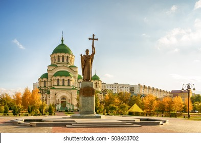 Astrakhan. St. Vladimir's Cathedral. The monument to St. Vladimir - Baptist of Russia. Autumn evening.