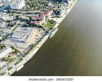 Astrakhan. Volga. A cruise ship. The central embankment of the city. Monument to Peter 1 on the park for rest and walks. Panorama of the city of Astrakhan.