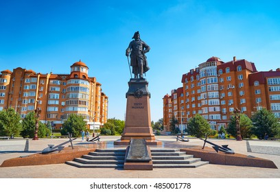 ASTRAKHAN,RUSSIA-SEPTEMBER 17,2016:Monument to Peter the Great on the waterfront Astrakhan