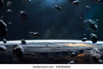Astroids at the Earth planet orbit. Elements of this image furnished by NASA