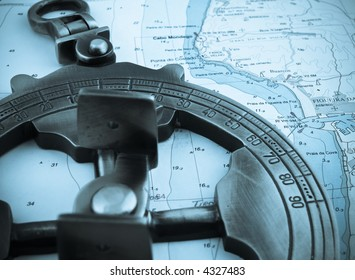 astrolabe on top of a navigation map