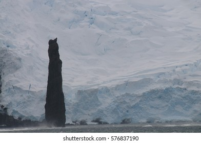 The Astrolabe's Needle, Brabants Island, Antarctica. The Astrolabe is a 50 meter tall rock formation off the coast of Brabant's island, Antarctica.