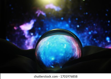 Astrological background. Crystal ball with predictions. Horoscope of the stars. Fortune telling and determination fate. Soothsayer with a crystal ball.