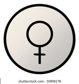 astrological symbol for planet venus, silver button