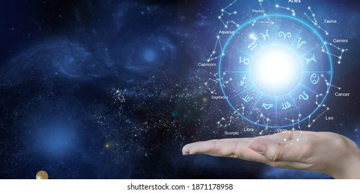 Astrological zodiac signs inside of horoscope circle. Astrology, knowledge of stars in the sky