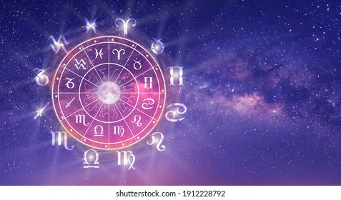 Astrological zodiac signs inside of horoscope circle. Astrology, knowledge of stars in the sky over the milky way and moon. The power of the universe concept.