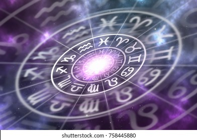 Astrological zodiac signs inside of horoscope circle on universe background - astrology and horoscopes concept