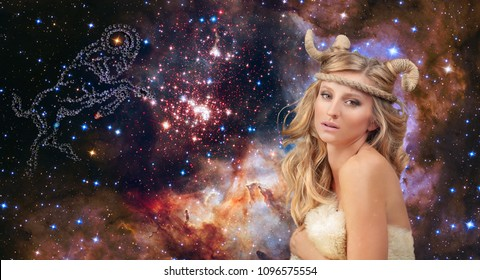 Astrology. Aries Zodiac Sign. Aries woman on night sky background