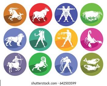 Astrology horoscope, icon set, 3D illustration