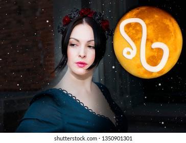 Astrology, sorcerer and zodiac sign lion