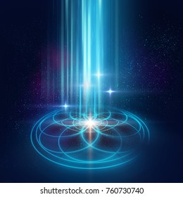 astrology and spirituality themes. Matter, space and time. Science in Universe. Golden 