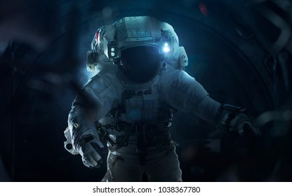 Astronaut and alien. Contact. Elements of this image furnished by NASA