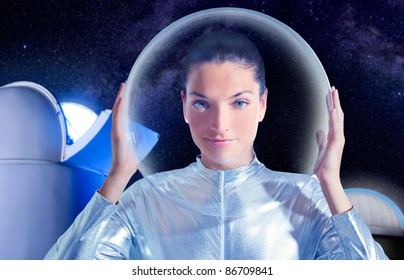 astronaut beautiful future woman in astronomical observatory [Photo Illustration]