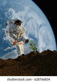 Astronaut with a camera on the planet..3d render