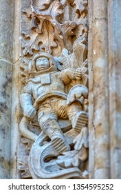 Astronaut carved on the facade of Salamanca cathedral in Spain.