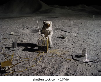 Astronaut collecting lunar artifacts