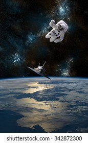 An astronaut drifting in space is rescued by a space shuttle orbiting Earth -  Elements of this image furnished by NASA