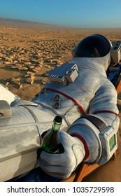astronaut drinking 3d illustration