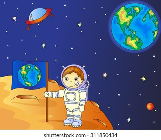 Astronaut with Earth flag on the moon surface in space colorful illustration