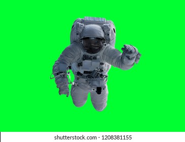 Astronaut floating isolated on green background 3D rendering elements of this image furnished by NASA