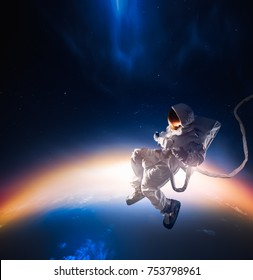 Astronaut floating in outer space / high contrast image