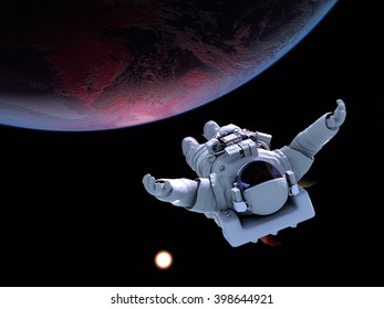 "Astronaut flying over the planet.""Elemen ts of this image furnished by NASA"",3D rendering"