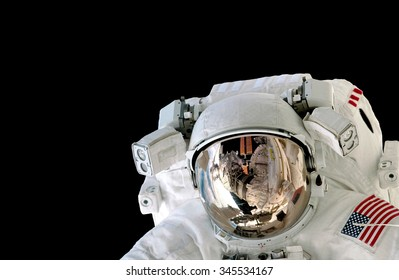 Astronaut helmet isolated on black background spaceman outer space suit. Elements of this image furnished by NASA.
