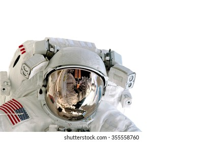 Astronaut helmet isolated on white background spaceman outer space suit. Elements of this image furnished by NASA.