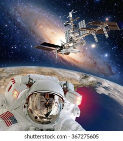 Astronaut helmet spaceman iss planet space walk spacewalk international station. Elements of this image furnished by NASA.