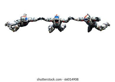 astronaut hero gang skydiveing freestyle white background