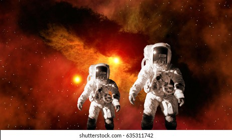 Astronaut kid child planet Mars spaceman suit outer space family father galaxy universe explosion. Elements of this image furnished by NASA.