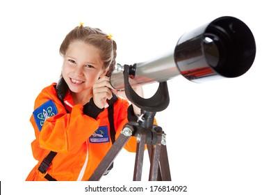 Astronaut: Little Girl Looks Through Telescope