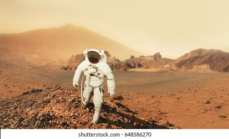 Astronaut man walks in the desert with mountains in Mars. Journey to the red planet. Landscape of the red planet Mars