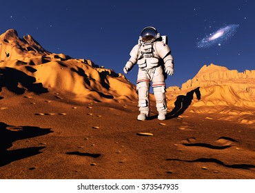 Astronaut moves around the planet