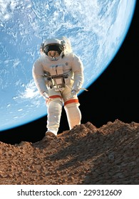 Astronaut  on background of planet.