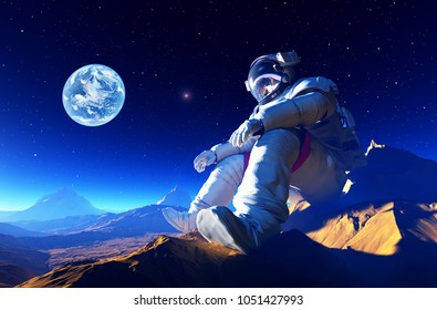 The astronaut on the background of the planet..3d render