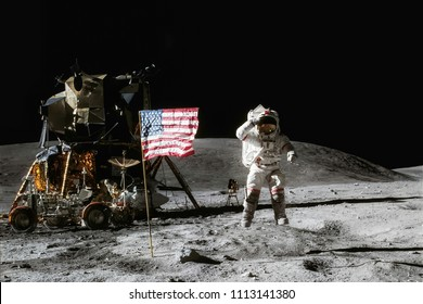 Astronaut on lunar moon landing mission Apollo 11.Astronaut space walk on moon with lunar orbitor spacecraft. Space,science fiction,galaxy & universe wallpaper.Elements of this image furnished by NASA