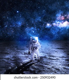 Astronaut on the Moon - Elements of this Image Furnished by NASA