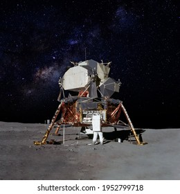Astronaut on moon (lunar) landing mission with earth on the background. Elements of this image furnished by NASA.