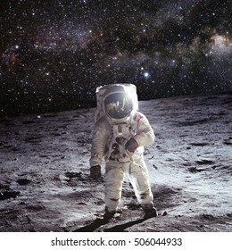 Astronaut on the Moon with universe stars background - Elements of this Image furnished by NASA